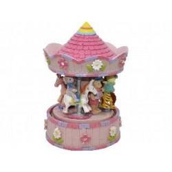 Carrusel giratorio musical en poliresina, tamaño pequeño, modelo Animales, color rosa