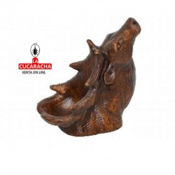 Pipero para 1 pipa resina, forma CIERVO, color marrón