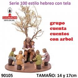 Figuras Belen Estilo Hebreo con tela Grupo cuenta cuentos con arbol 14 y 17 cm.