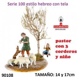 Pastor con 3 corderos y niño 14 y 17 cm
