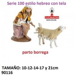 Figura Belen Estilo Hebreo con tela Pastor con oveja pariendo 10-12-14-17-21 cm.