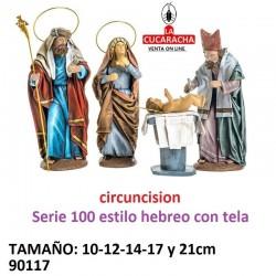 Figura Belen Estilo Hebreo con tela Grupo Circuncision Jesus 10-12-14-17-21 cm.