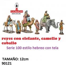 Figuras Belen Reyes con Elefante,Camello y Caballo 12 cm