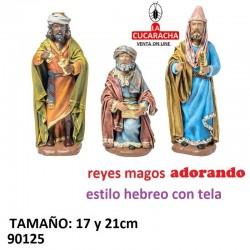 Figuras Belen Estilo Hebreo con tela Reyes Adorando 17 y 21 cm