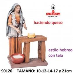 Figuras Belen Estilo Hebreo con tela Pastora haciendo queso 10-12-14-17 y 21cm