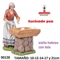 Figuras Belen Estilo Hebreo con tela Pastora haciendo pan 10-12-14-17 y 21cm