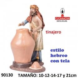 Figuras Belen Estilo Hebreo con tela Pastor haciendo tinajas 10-12-14-17 y 21cm