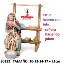 Figuras Belen Estilo Hebreo con tela Pastora haciendo jabon 10-12-14-17 y 21cm