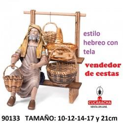 Figuras Belen Estilo Hebreo con tela Vendedor de Cestas 10-12-14-17 y 21cm