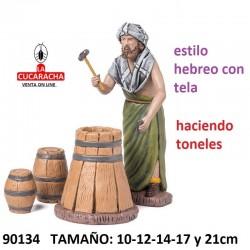 Figuras Belen Estilo Hebreo con tela Pastor haciendo Barriles 10-12-14-17 y 21cm