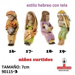 Figuras Belen Estilo Hebreo con tela 19 Niños Surtidos de 7 cm