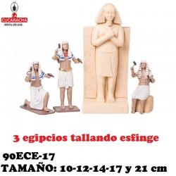 Figuras Belen Egipcios Grupo 3 egipcios tallando esfinge