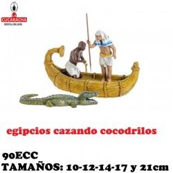 Figuras Belen Grupo Egipcios Cazando Cocodrilos 10cm