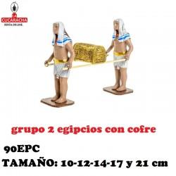 Figuras Belen Grupo 2 Egipcios con Cofre 10-12-14-17 y 21 cm