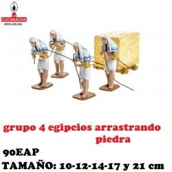 Figuras Belen Grupo 4 Egipcios Arrastrando Piedra 10-12-14-17 y 21 cm