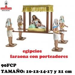 Figuras Belen Grupo Egipcios Faraona en Carroza con Porteadores 10 cm