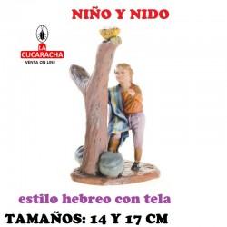 Figuras Belen Estilo Hebreo con tela Grupo niño y nido 14 y 17 cm.
