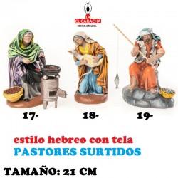 Pastores Surtidos Figuras estilo Hebreo con tela 21 cm NUEVE