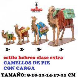Figuras Belen Estilo Hebreo clase extra CAMELLOS DE PIE CON CARGA 8-10-12-14-17-21cm