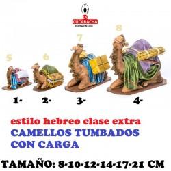 Figuras Belen Estilo Hebreo clase extra CAMELLOS TUMBADOS CON CARGA 8-10-12-14-17-21cm