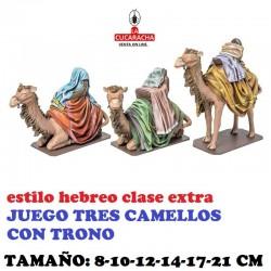 Figuras Belen Estilo Hebreo clase extra JUEGO 3 CAMELLOS CON TRONO 8-10-12-14-17-21 CM