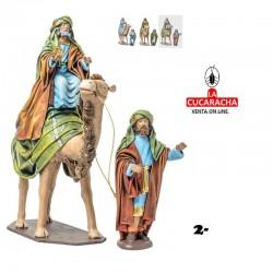 Figuras Belen Estilo Hebreo clase extra con tela-2-REYES EN CAMELLO 8-10-12-14-17-21cm