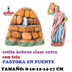 Figuras Belen Estilo Hebreo clase extra con tela PASTORA EN FUENTE 8-10-12-14-17 cm