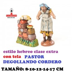 Figuras Belen Estilo Hebreo clase extra con tela PASTOR DEGOLLANDO CORDERO 8-10-12-14-17 cm