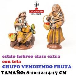 Figuras Belen Estilo Hebreo clase extra con tela-2-VENDIENDO FRUTA 8-10-12-14-17 cm
