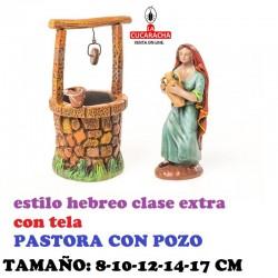 Figuras Belen Estilo Hebreo clase extra con tela PASTORA CON POZO 8-10-12-14-17 cm