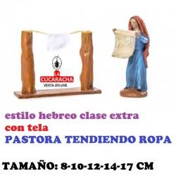 Figuras Belen Estilo Hebreo clase extra con tela-2-PASTORA TENDIENDO ROPA 8-10-12-14-17 cm