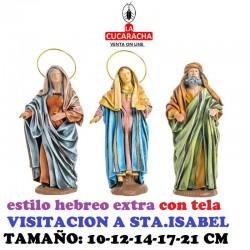 Figuras Belen Estilo Hebreo clase extra con tela-1-VISITACION DE LA VIRGEN A STA.ISABEL 10-12-14-17-21 CM