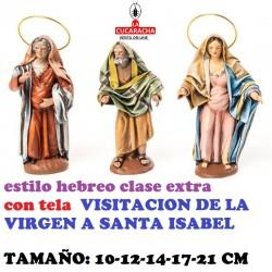 Figuras Belen Estilo Hebreo clase extra con tela-2-VISITACION DE LA VIRGEN A STA.ISABEL 10-12-14-17-21 CM