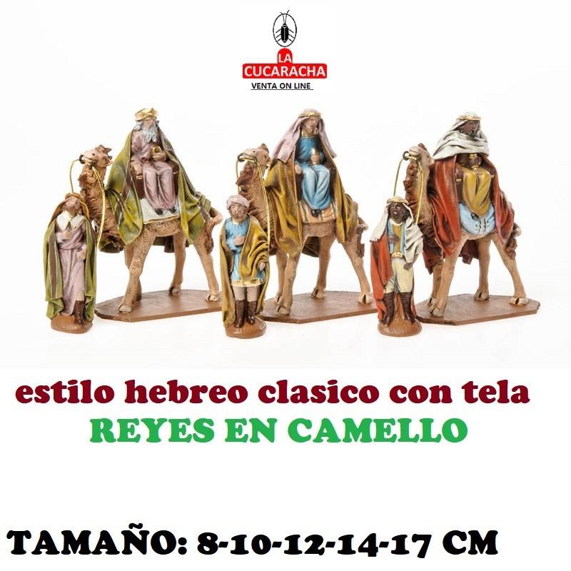Figuras Belen Estilo Hebreo tradicional con tela REYES EN CAMELLO 8-10-12-14-17cm