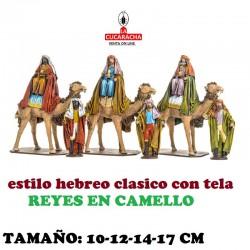Figuras Belen Estilo Hebreo tradicional con tela REYES EN CAMELLO 10-12-14-17cm