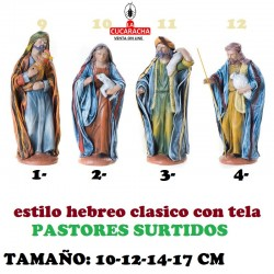Figuras Belen Estilo Hebreo tradicional con tela-3-PASTORES SURTIDOS 10-12-14-17cm