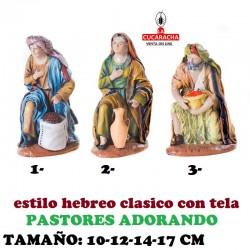 Figuras Belen Estilo Hebreo tradicional con tela-1-PASTORES ADORANDO 10-12-14-17cm