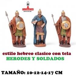 Figuras Belen Estilo Hebreo tradicional con tela HERODES Y SOLDADOS 10-12-14-17cm