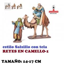 Figuras Belen Estilo Salzillo con tela REYES EN CAMELLO 14 y 17 cm