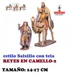 Figuras Belen Estilo Salzillo con tela-2-REYES EN CAMELLO 14 y 17 cm