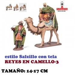 Figuras Belen Estilo Salzillo con tela-3-REYES EN CAMELLO 14 y 17 cm