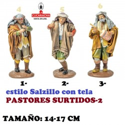 Figuras Belen Estilo Salzillo con tela-2-PASTORES SURTIDOS 14-17cm