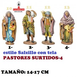Figuras Belen Estilo Salzillo con tela-4-PASTORES SURTIDOS 14-17cm
