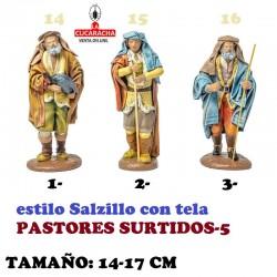 Figuras Belen Estilo Salzillo con tela-5-PASTORES SURTIDOS 14-17cm