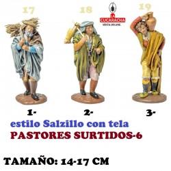 Figuras Belen Estilo Salzillo con tela-6-PASTORES SURTIDOS 14-17cm