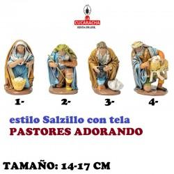 Figuras Belen Estilo Salzillo con tela PASTORES ADORANDO 14-17cm