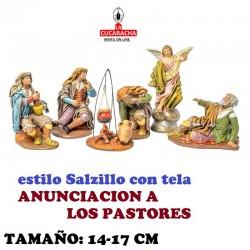 Figuras Belen Estilo Salzillo con tela ANUNCIACION A LOS PASTORES 14 y 17 cm