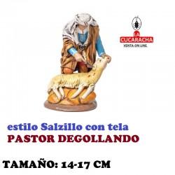 Figuras Belen Estilo Salzillo con tela Grupo PASTOR DEGOLLANDO 14 y 17 cm