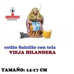 Figuras Belen Estilo Salzillo con tela Grupo VIEJA HILANDO 14 y 17 cm