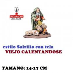 Figuras Belen Estilo Salzillo con tela Grupo VIEJO CALENTANDOSE 14 y 17 cm